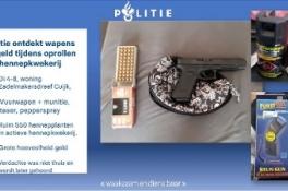 Cuijk - Politie rolt hennepkwekerij op en ontdekt wapens en geld