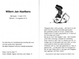 Dankbetuiging Willem Jan Haefkens